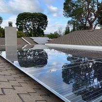 Solar panels integrated on patio cover or roof