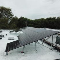 Solar installed on a tilt rack in Brooklyn, NY