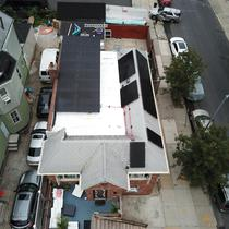 Solar installed on a tilt rack + pitch in Brooklyn, NY