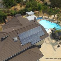 Cool drone pic of this home: solar panels, pool, palm trees. How are you going to use the electricity your solar panels make? -San Jose, CA 2015