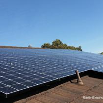Help to keep the sky blue, with renewable resources, like solar panels! LG Electronics 275W solar panels. SolarEdge 5kW inverter. SolarEdge 300W DC optimizers. -2015, San Jose, CA.