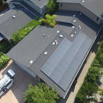 These monocrystalline solar panels appear dark, or black, rather than blue, like other panels. What look and feel do you want, on your roof-top? -2016, San Jose, CA. LG Electronics solar panels. Enphase Energy microinverters & Envoy monitor.