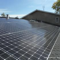 A blue sky, strong sunlight, and solar panels: the perfect combo for making your own electricity. -2014, San Jose, CA.  LG Electronics 275W solar panels. Enphase Energy M250 microinverters & Envoy Monitoring System.