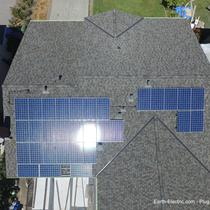 The sun reflecting off panels that use its energy. Let's make our own electricity! -2016, San Jose, CA. Hanwha Q-Cell 265W solar panels. SolarEdge 7.6kW inverter and P300 DC optimizers.