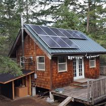 Off-grid cabin with Outback Power Radian with batteries