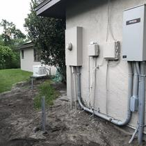 Photo of the whole-home generator automatic transfer switch that turns the generator on automatically during an outage