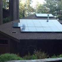 300 watt LG panels, with 300 watt micro inverters, capitalizing the mountain sun, to charge a Tesla!
