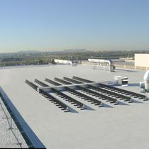 "MatrixAir ""DT"" Roof mounted modular solar air heating system.  Each module produces 250 CFM of preheated fresh air"