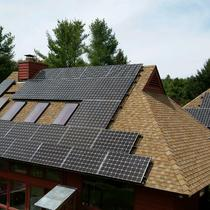 A 10.5 kW roof mount solar system installed in April on a home in Ellington, CT.