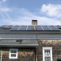Completed solar electric installation with battery back-up