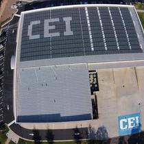 CEI's 160 kW solar array can be seen from the sky when flying out of RDU International Airport