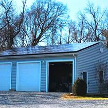 10 kW detached garage solar system in Frederick County.