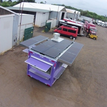 A custom 2.75kW system allowing the food cart to operate 100% off-grid. This food cart features energy-efficient appliances and a custom racking system that allows for more solar power and doubling as an awning!