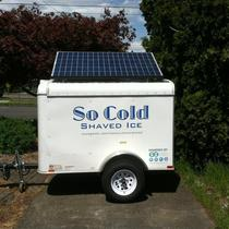 Portland based food cart, So Cold Shaved Ice gets power from the sun when not connected to the grid!