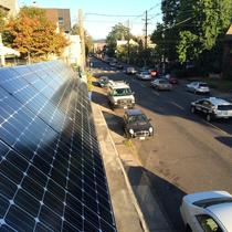 Drive down SE Belmont St in Portland, OR to catch a glimpse of this gorgeous solar awning!