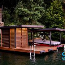 This custom dock is outfitted with an off-grid solar system to power accent lighting, plugs and a boat lift.