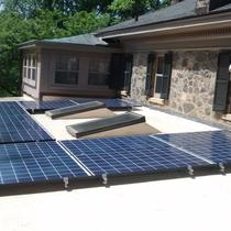 Residential installation in Charlottesville, with no roof penetrations