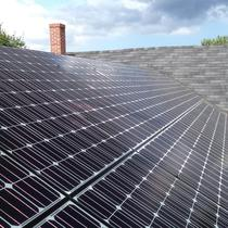 Close up of solar electric installation in Haverhill, MA